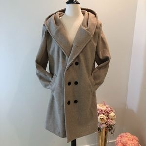 Tan Double Breasted Hood Coat Size Medium